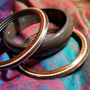Vintage brown bangle bracelet bundle of 3 stripe